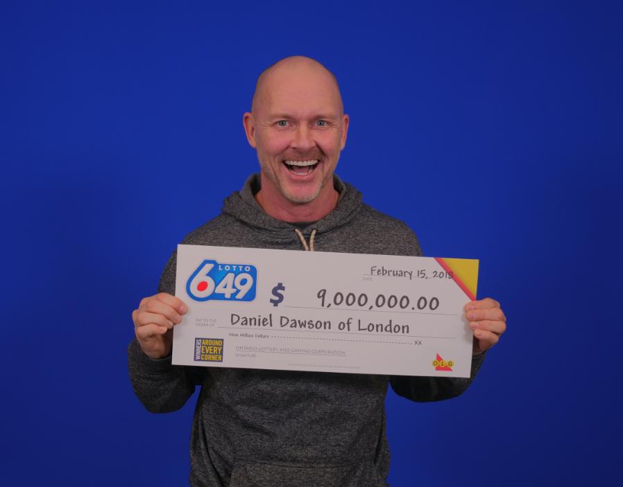 City of London employee Daniel Dawson won a $9M Lotto 6/49 jackpot.