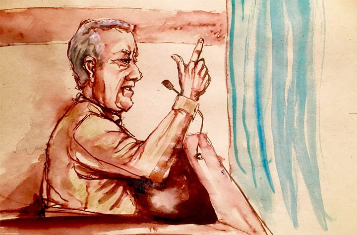 Defendant Gerald Stanley gestures in court in this courtroom sketch in Battleford, Sask., on Monday, Feb. 5, 2018.