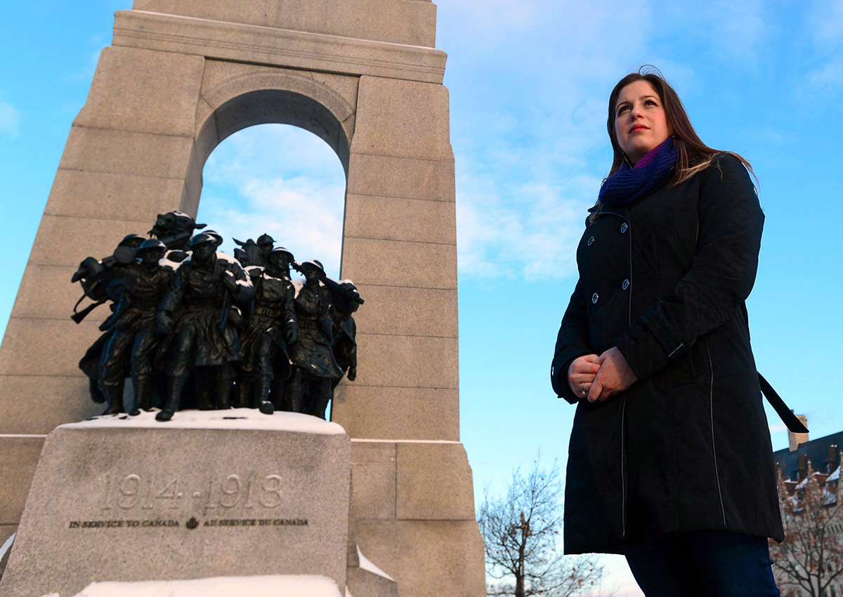 Sarah Lockyer who works for National Defence is pictured at the National War Memorial in Ottawa on Wednesday, Dec. 21, 2016.