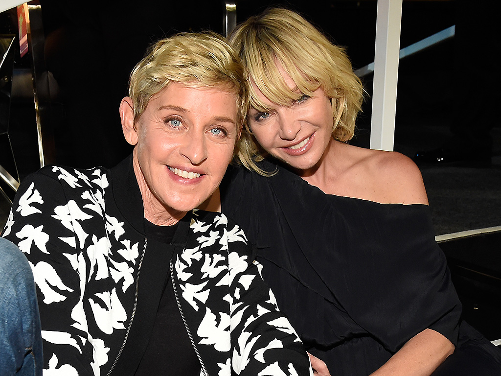 Ellen DeGeneres (L) and Portia de Rossi attend the 2017 MTV Video Music Awards at The Forum on August 27, 2017 in Inglewood, Calif.