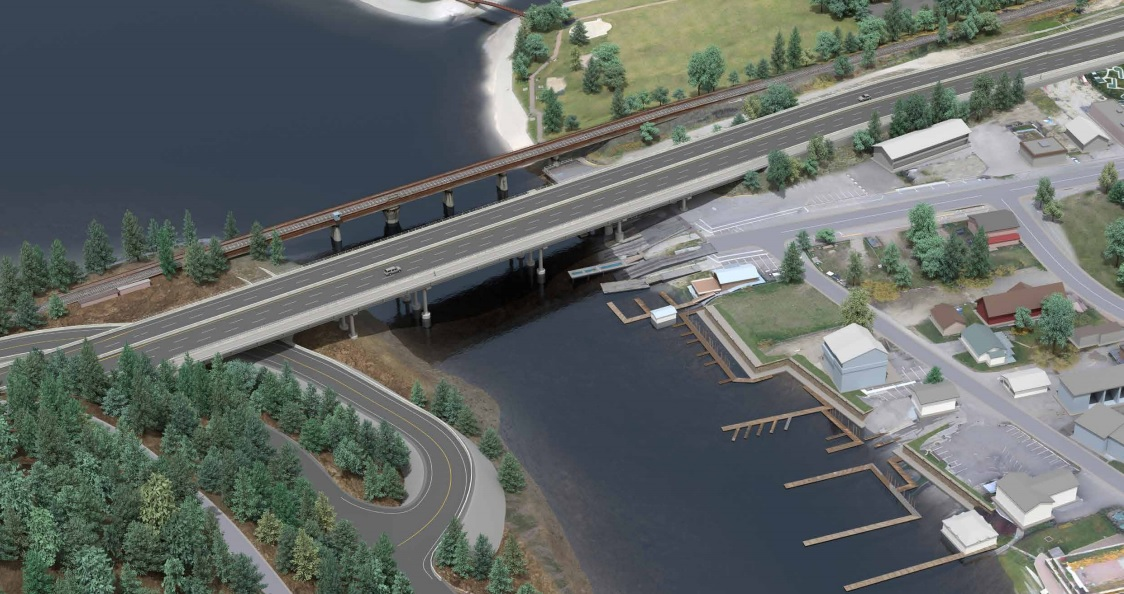 An artist rendering of one option to replace Sicamous' Bruhn Bridge. This option would see the existing bridge replaced with a five-lane bridge.