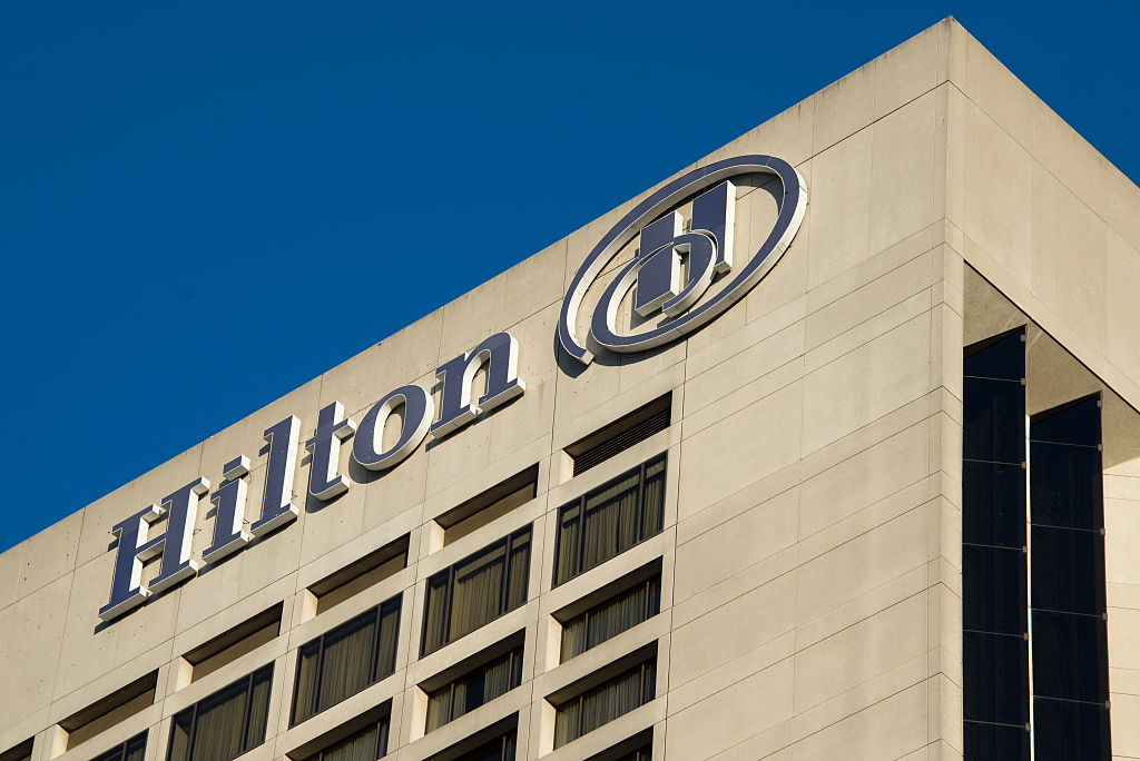 The Hilton Toronto Airport Hotel sign is pictured on June 3, 2015.