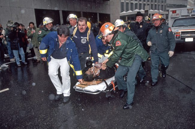 View of an man injured after a terrorist's truck bomb at the World Trade Center, New York, New York, Feb. 26, 1993.