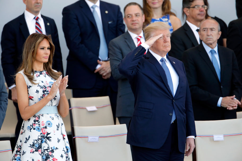 U.S President Donald Trump and his wife Melania Trump attend the traditional Bastille day military parade on the Champs-Elysees on July 14, 2017 in Paris France. Bastille Day, the French National day commemorates this year the 100th anniversary of the entry of the United States of America into World War I.