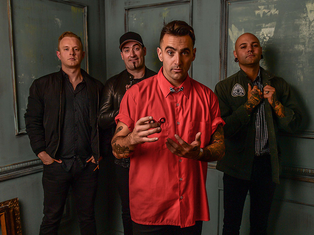 (L-R): Jay Beni, Tommy Mac, Jacob Hoggard and Dave Rosin of Hedley pose for a portrait at the 2017 MuchMusic Video Awards on June 18, 2017 in Toronto, Canada.