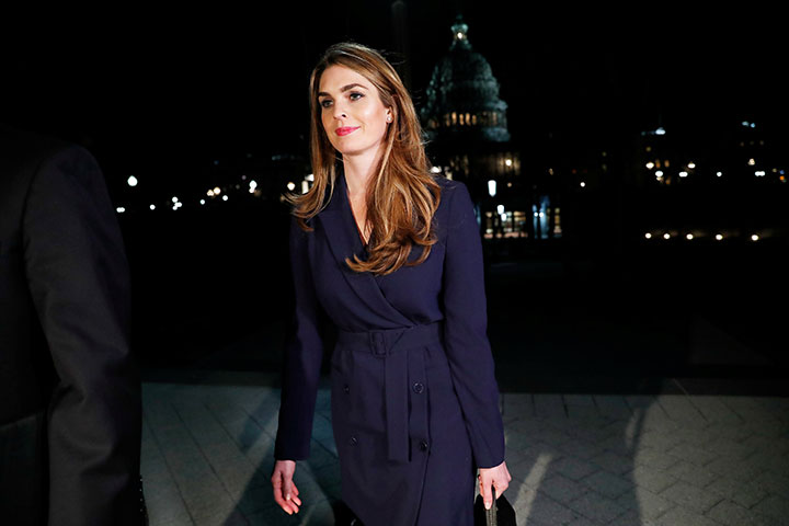 White House communications director Hope Hicks leaves the U.S. Capitol after attending the House Intelligence Committee closed door meeting in Washington, February 27, 2018.