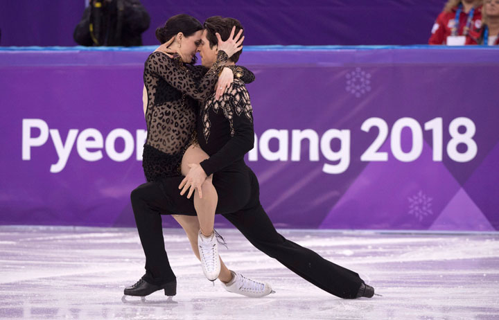 Canada's Tessa Virtue and Scott Moir perform in the ice dance figure skating short program at the Pyeongchang Winter Olympics Monday, February 19, 2018 in Gangneung, South Korea.