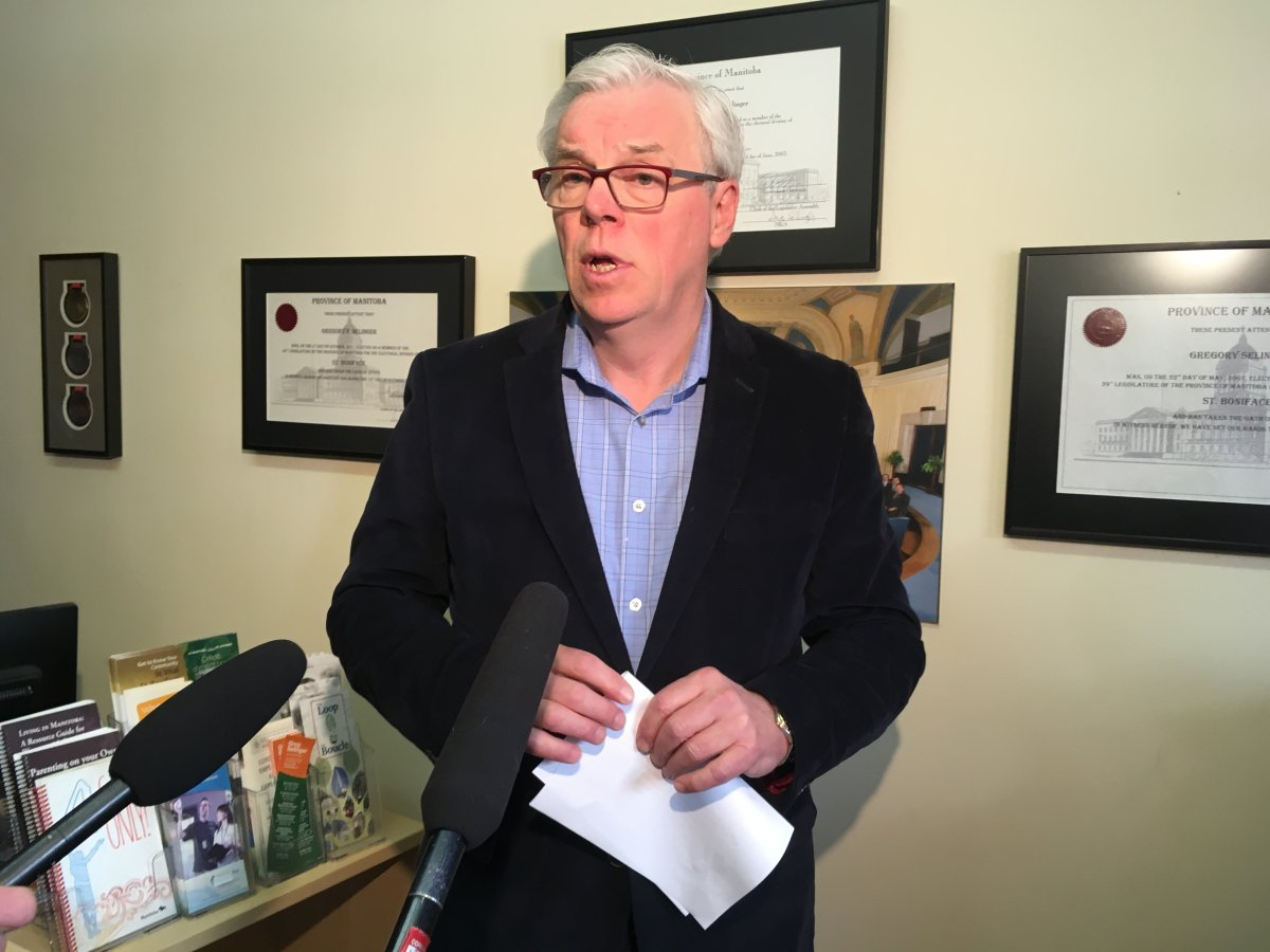Former NDP leader Greg Selinger spoke to media from his St. Boniface office after stepping down.