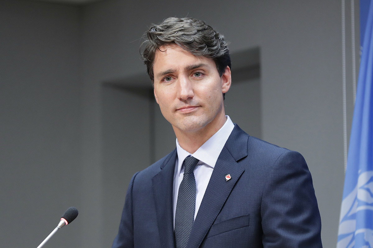 Waist up portrait of Justin Trudeau, Prime Minister of Canada, at the United Nations headquarters in New York City, New York, September 21, 2017.