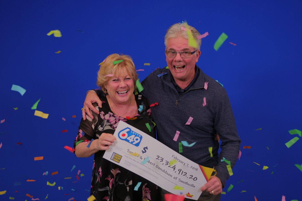 Sandra and Robert Donaldson of Smithville won $23.3 million on Lotto 6-49.