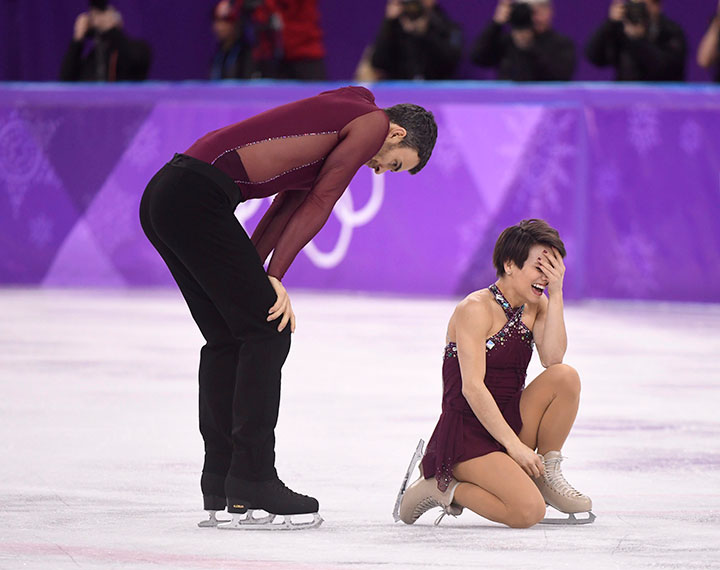 Canada's Meagan Duhamel and Eric Radford compete in the pairs figure skating free program at the Pyeonchang Winter Olympics Thursday, Feb. 15, 2018 in Gangneung, South Korea.