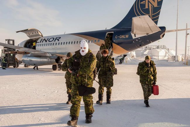 Members of the Arctic Response Company Group arrive at NOREX 2017 held in Resolute Bay, Nunavut, on March 18, 2017.