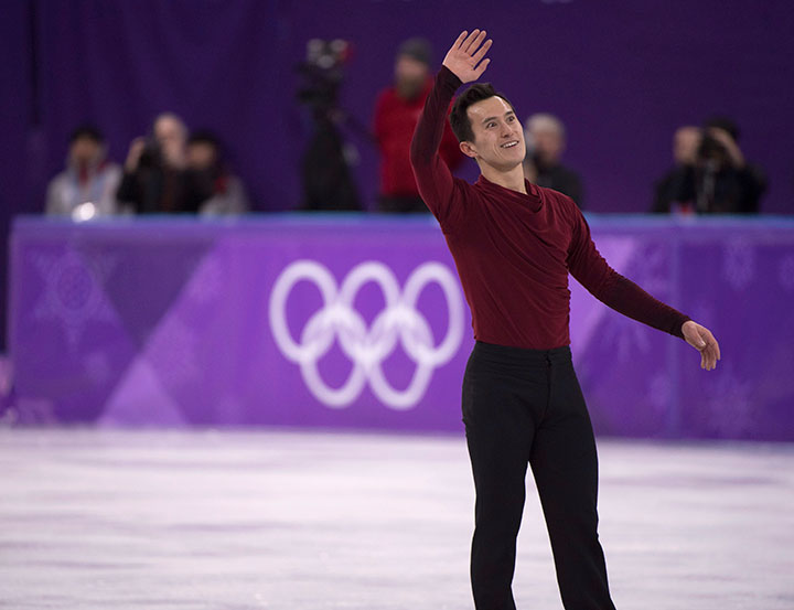 Canada's Patrick Chan reacts after his men's free skate at the Pyeonchang Winter Olympics, February 17, 2018 in Gangneung, South Korea.