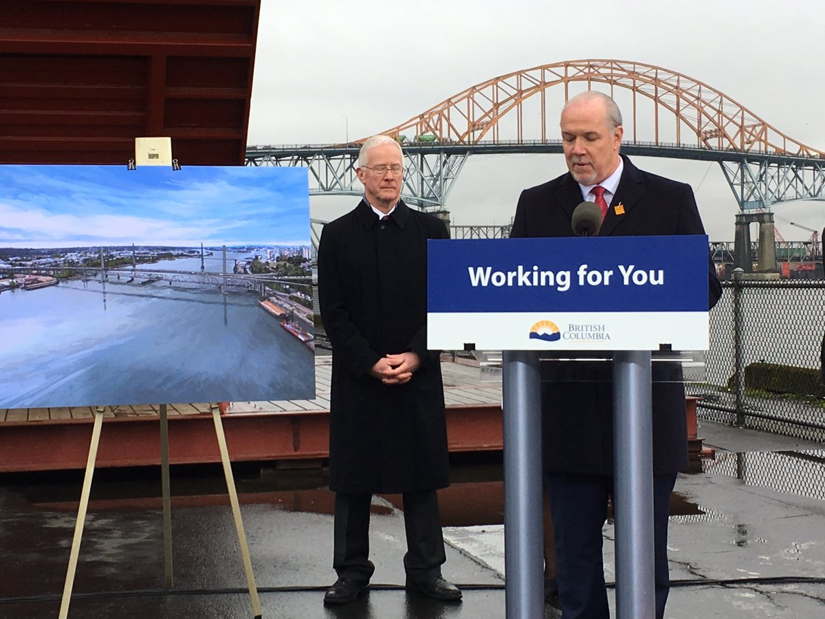 Premier John Horgan speaks of plans to replace the Pattullo Bridge in February, 2018.