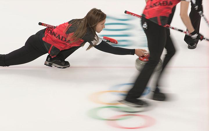 Team Canada skip Rachel Homan plays a stone at the Pyeongchang 2018 Olympic Winter Games in Korea, Thursday, February 15, 2018.