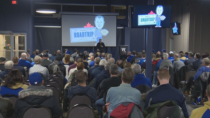 CFL commissioner Randy Ambrosie speaks with fans at Monday's town hall type event at Investors Group Field.