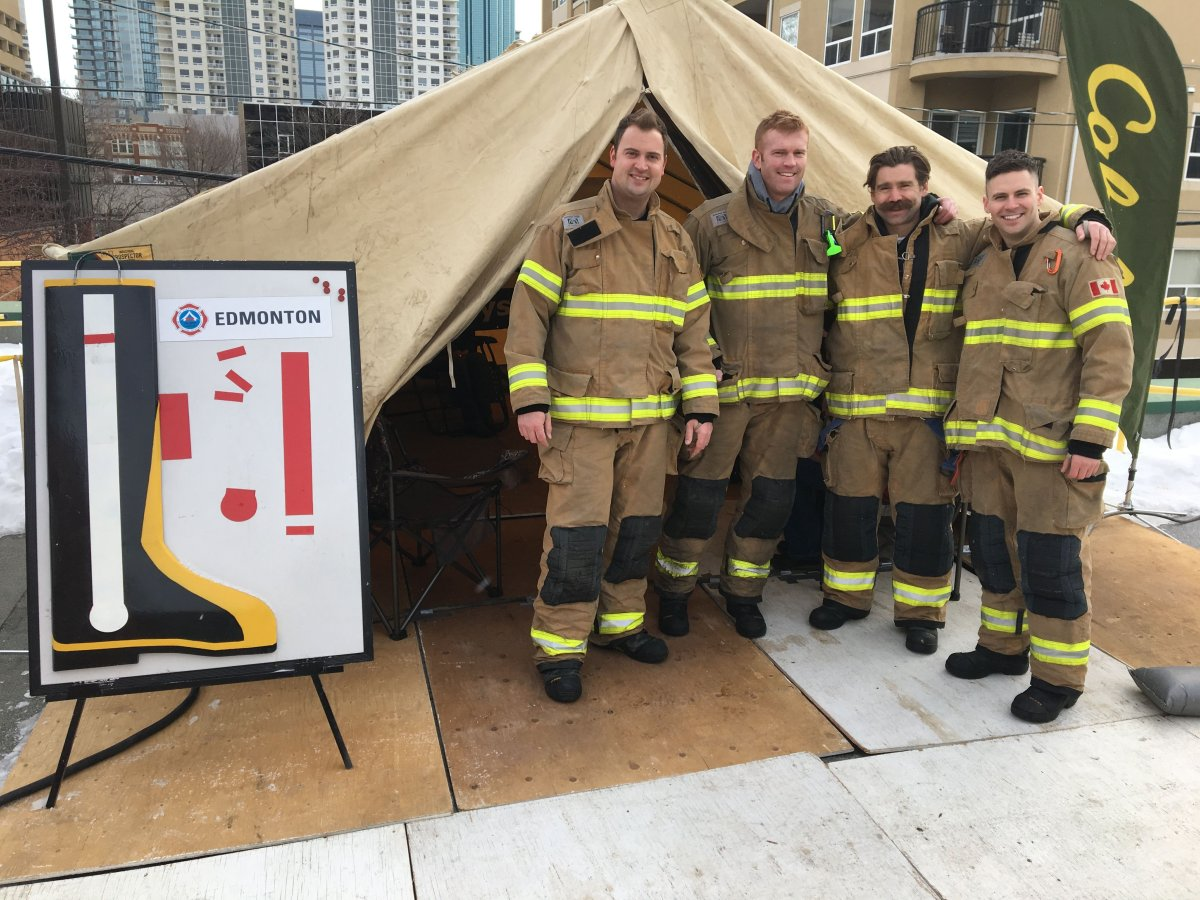 Edmonton firefighters participate in the annual Rooftop Campout, a fundraiser for Muscular Dystrophy, Monday, Feb. 26, 2018.