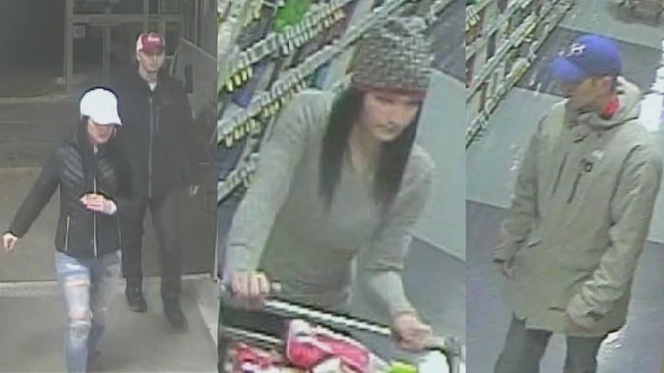 RCMP are looking for four suspects who allegedly tried to steal two grocery carts full of unpaid products from a Sobeys in Shediac, N.B.