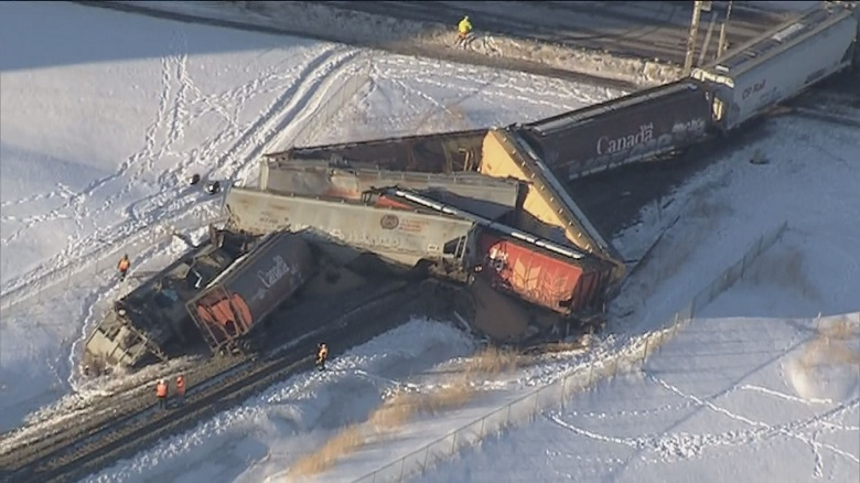 The Global 1 News helicopter caught images of the scene after several cars went off the tracks in south Edmonton when a train derailed across Ellerslie Road on Friday.