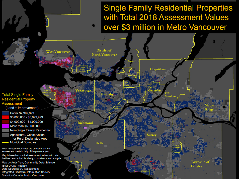 This chart shows single-detached homes with assessed values over $3 million across Metro Vancouver.