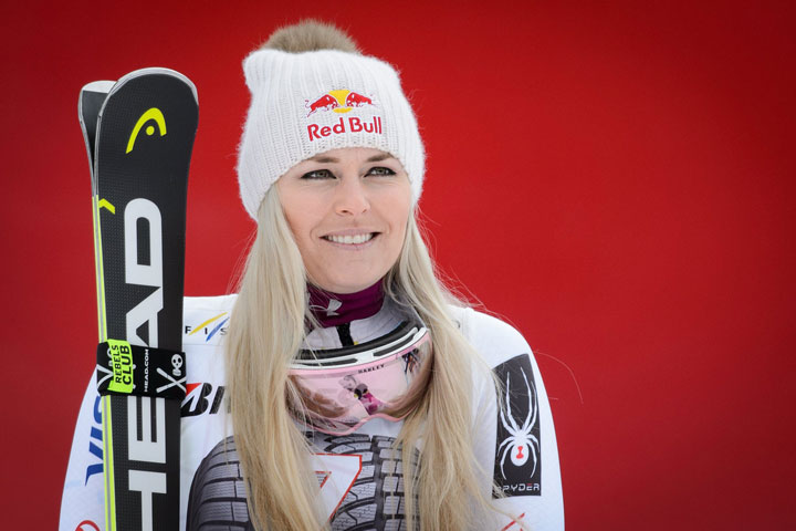 Winner Lindsey Vonn of the United States reacts during the award ceremony for the women's downhill race of the FIS Alpine Ski World Cup event in Garmisch-Partenkirchen, Germany, 04 February 2018.