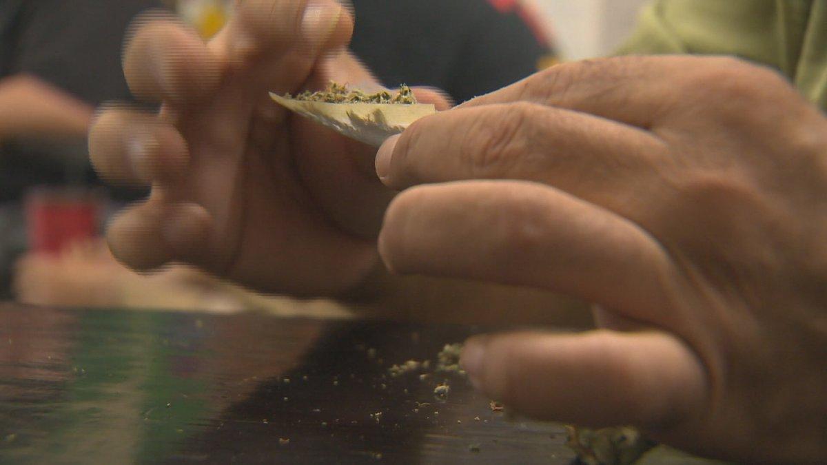 Marijuana user rolling joint.