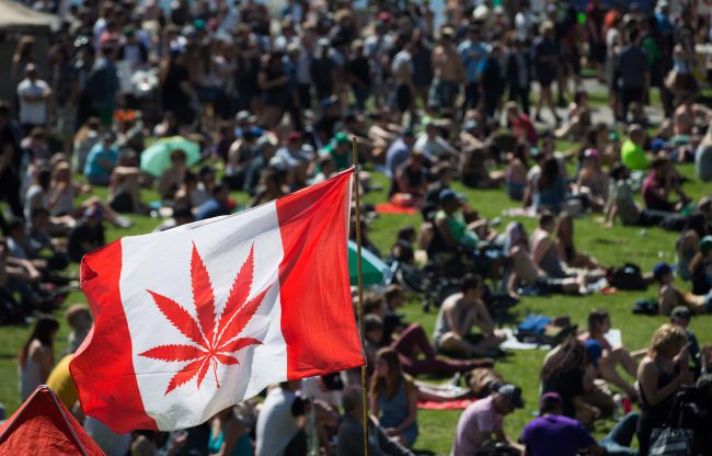 A marijuana flag flaps in the wind above the crowd at the annual 4/20 cannabis culture celebration at Sunset Beach in Vancouver, B.C., on Wednesday April 20, 2016.