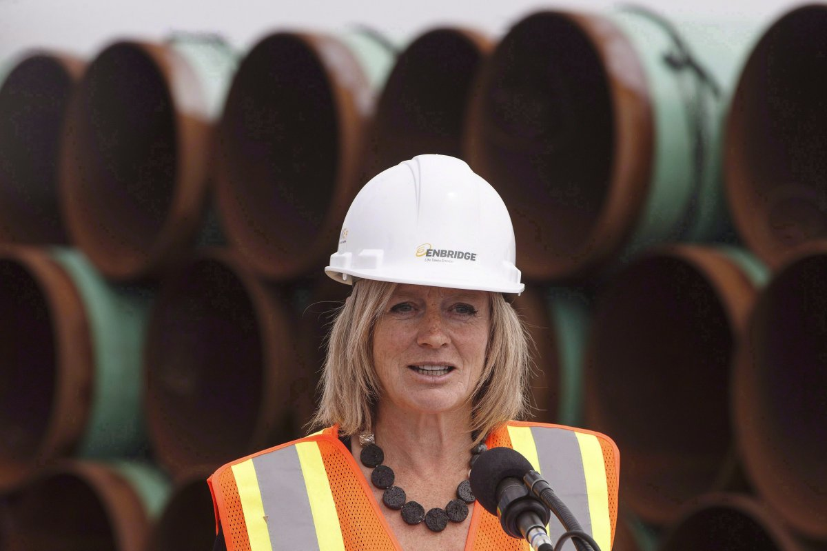 Alberta Premier Rachel Notley speaks to media during a tour of Enbridge's Line 3 pipeline replacement project in Hardisty, Alta., on Thursday Aug.10, 2017. Notley kicks off a cross-country speaking tour on the importance of the Trans Mountain pipeline expansion on Monday in Toronto.