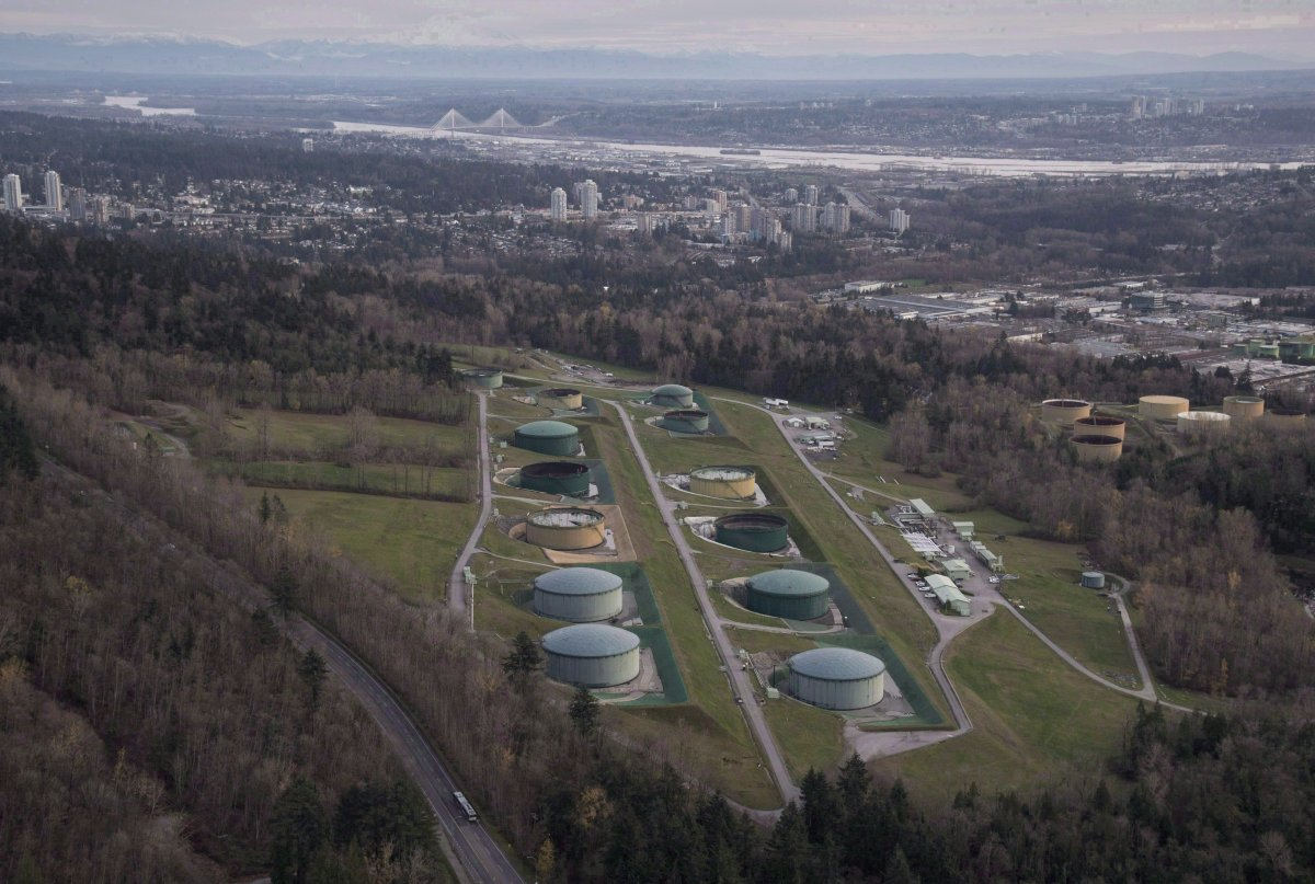 Kinder Morgan Trans Mountain Expansion Project's oil storage tank farm is seen in Burnaby, B.C., on Friday, Nov. 25, 2016.