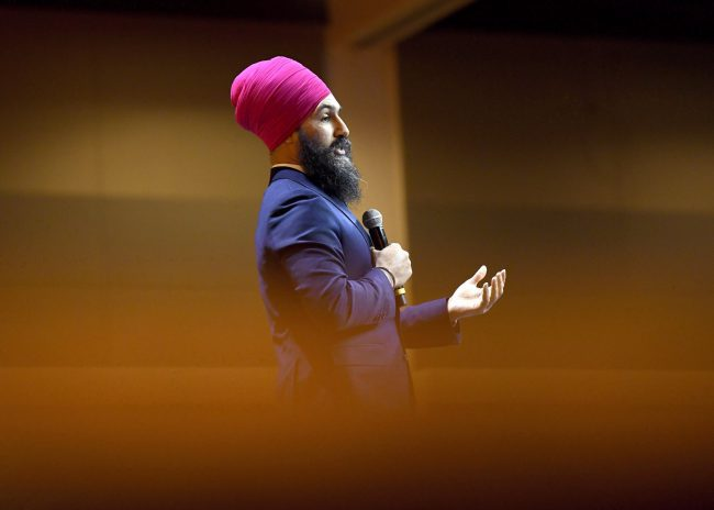 NDP Leader Jagmeet Singh speaks during the Federal NDP Convention in Ottawa on Saturday, Feb. 17, 2018.