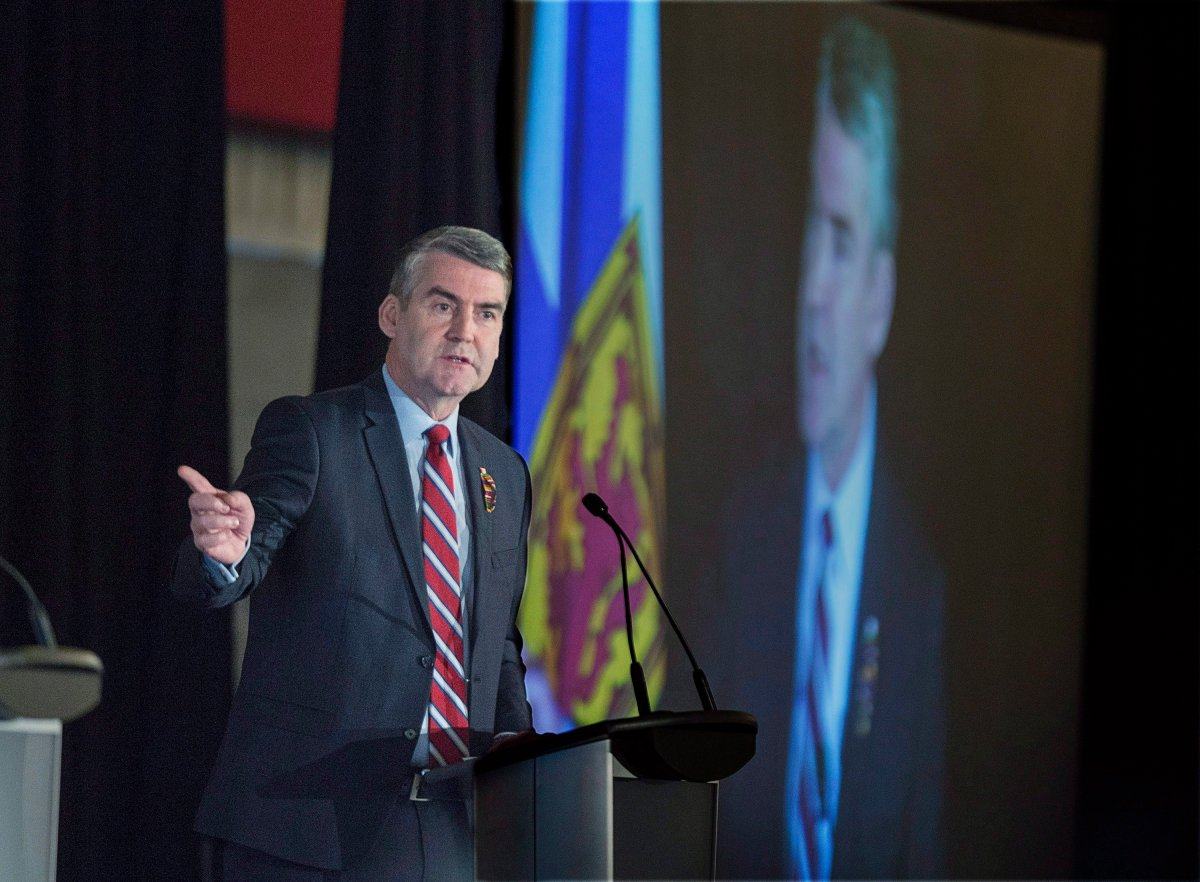 Premier Stephen McNeil delivers the state-of-the-province speech at a business luncheon in Halifax on Wednesday, Feb. 7, 2018.