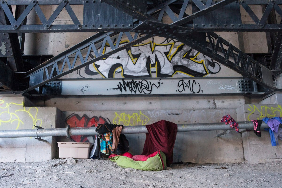 A makeshift home is seen in Toronto on Friday, February 16, 2018. A recent document produced by the City of Toronto stated that the city had removed over 300 encampments in its parks and ravines. Within Toronto, in its ravines, parks and underneath bridges, hides a booming population of temporary homes.
