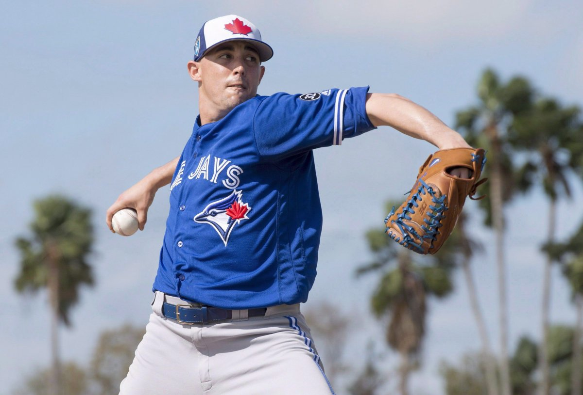 Toronto Blue Jays pitcher Aaron Sanchez throws live batting practice at spring training in Dunedin, Fla. on Tuesday, February 20, 2018.