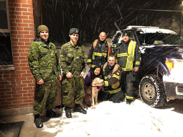 Oromocto firefighters and members from the Canadian Armed Forces teamed up to rescue a run away dog on March 9, 2018.