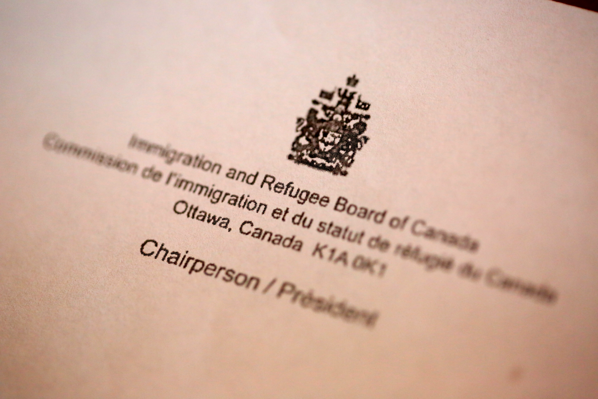 Canada's Immigration and Refugee Board letterhead.