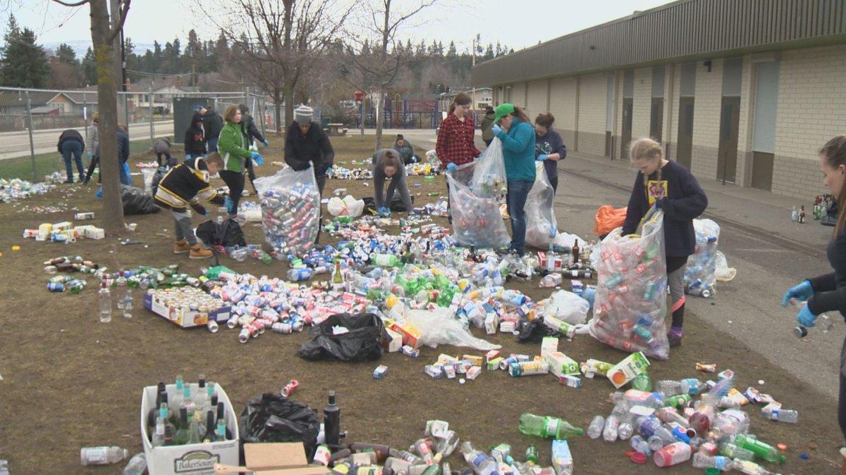 Bottle drive at Spring Valley Elementary school in Kelowna.