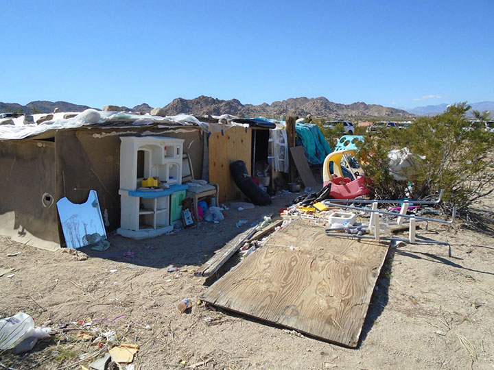 This handout photograph obtained March 1, 2018 courtesy of the San Bernardino County Sheriff's Department, shows the area in Joshua Tree, California where a couple were allegedly living with their three children inside a box for four years.