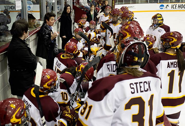 UMD women's hockey head coach Shannon Miller speaks to her team in the first period of the Division I Women's Ice Hockey Championship held in Minneapolis, Minn.