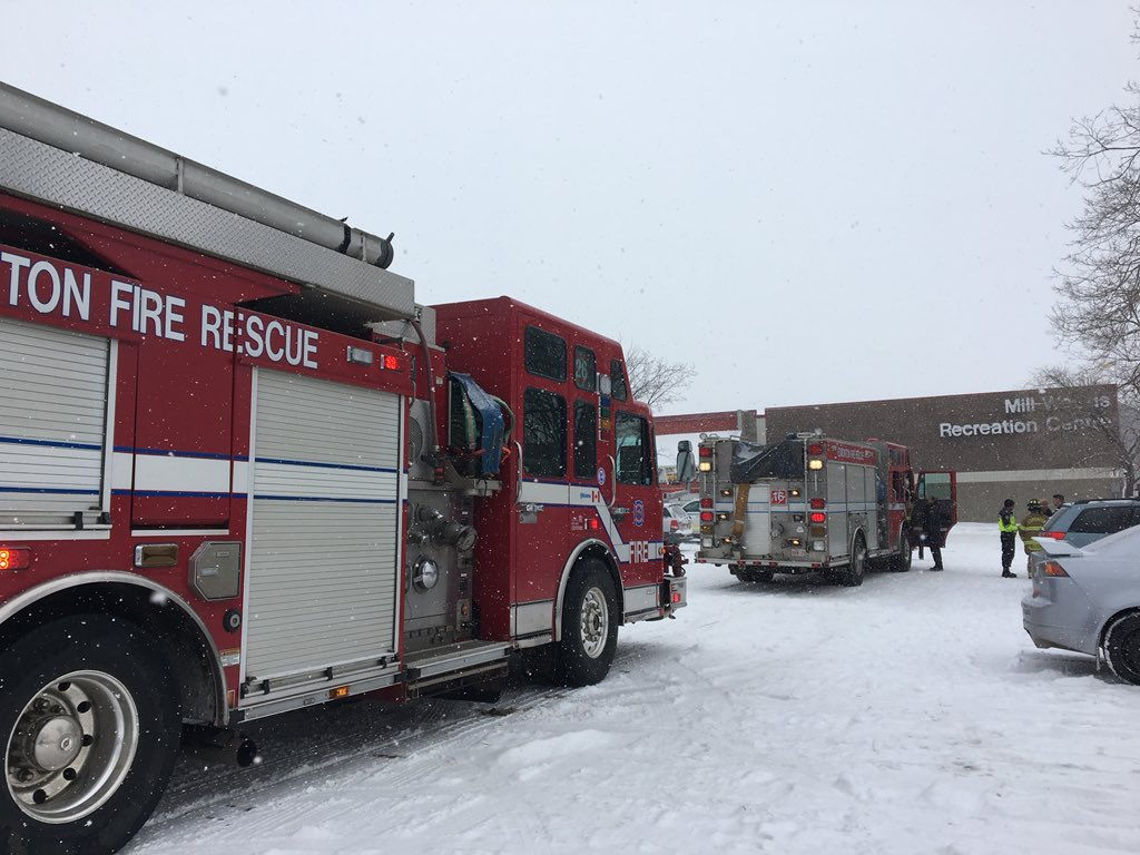 The Mill Woods Recreation Centre is evacuated after a significant chlorine leak, Saturday, March 3, 2018.