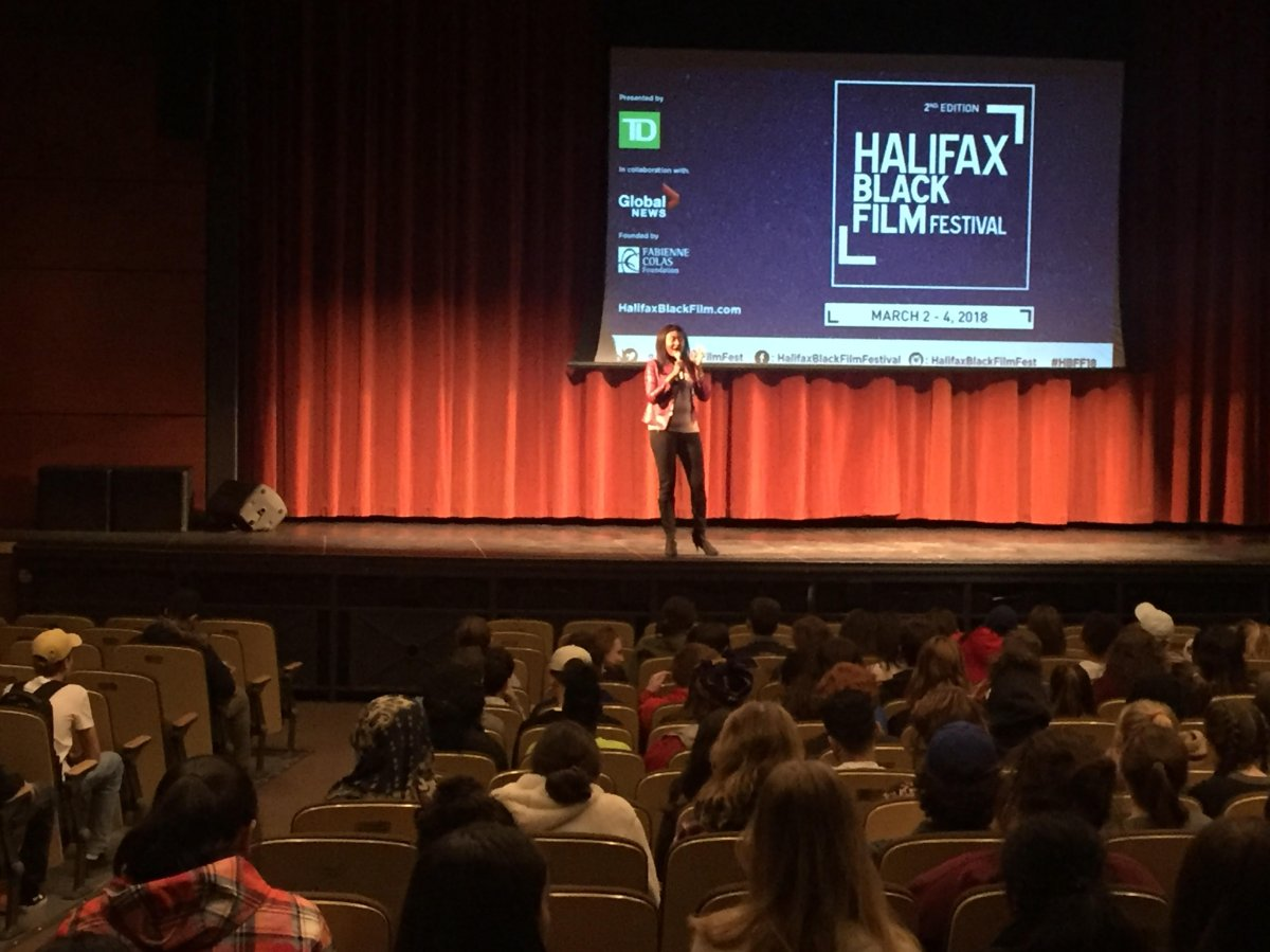 Fabienne Colas, founder of the Halifax Black Film Festival, visited Citadel High School on Friday as part of the festival's commitment to youth engagement.
