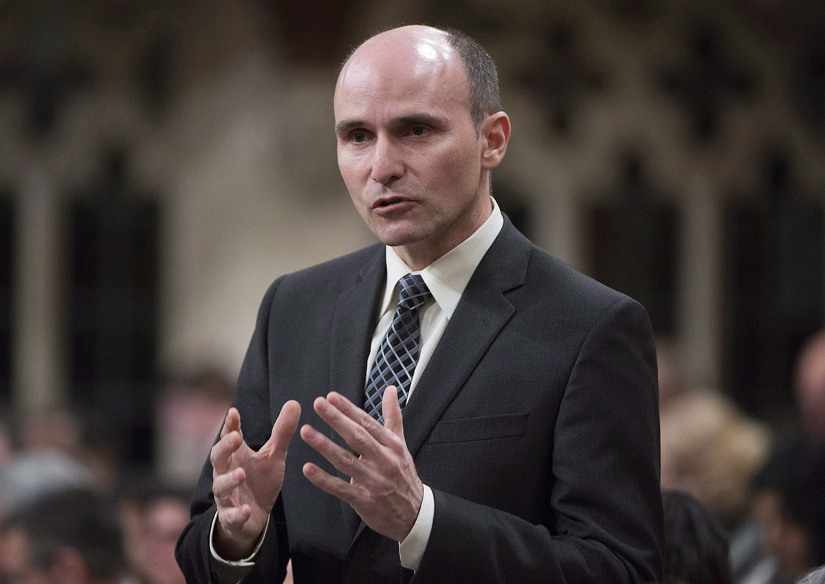 Families, Children and Social Development Minister Jean-Yves Duclos rises in the House of Commons in Ottawa on Friday, May 6, 2016.