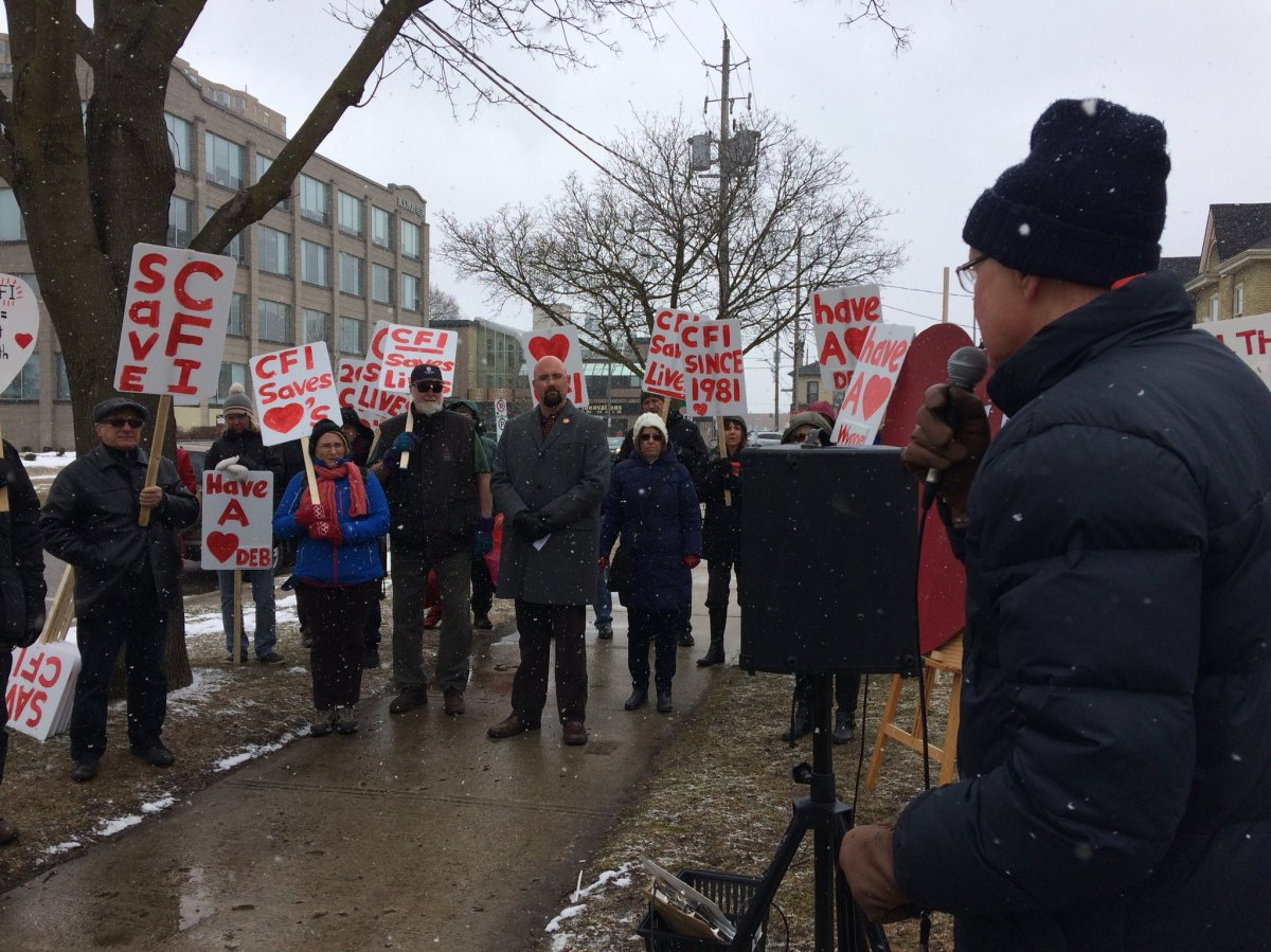 Demonstrators outside MPP Deb Matthews' London office call on government to restore funding to the Cardiac Fitness Institute on March 15, 2018.