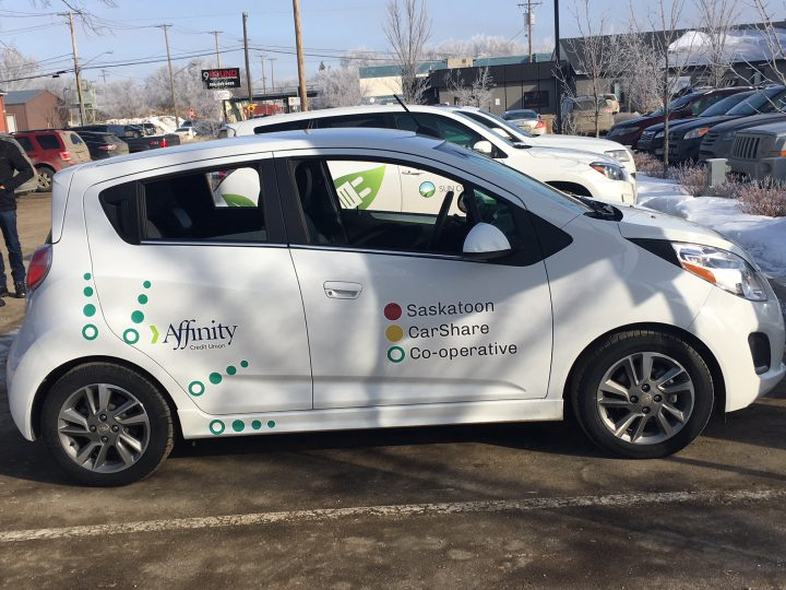 An electric and solar powered car sharing program launched on Tuesday in Saskatoon.