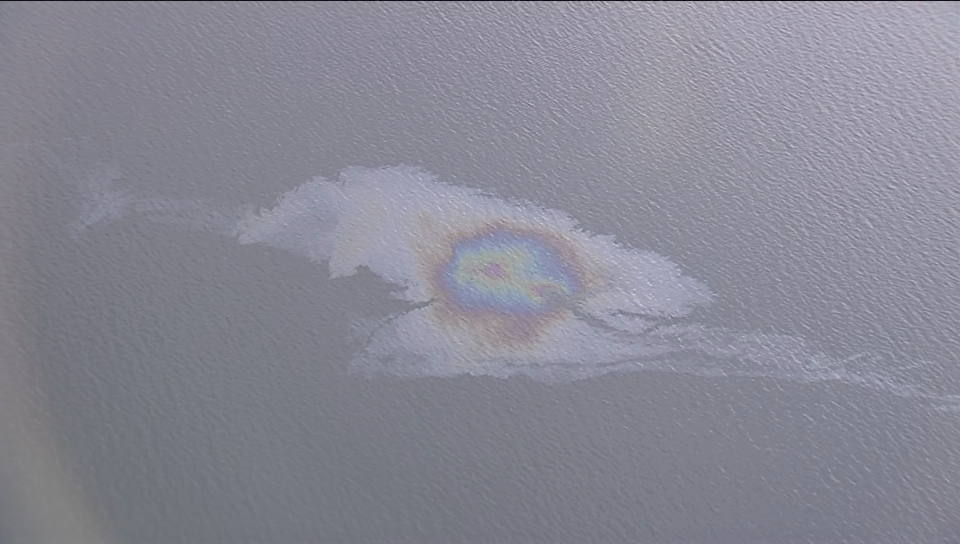The possible oil slick as captured by the Global 1 helicopter Monday evening.