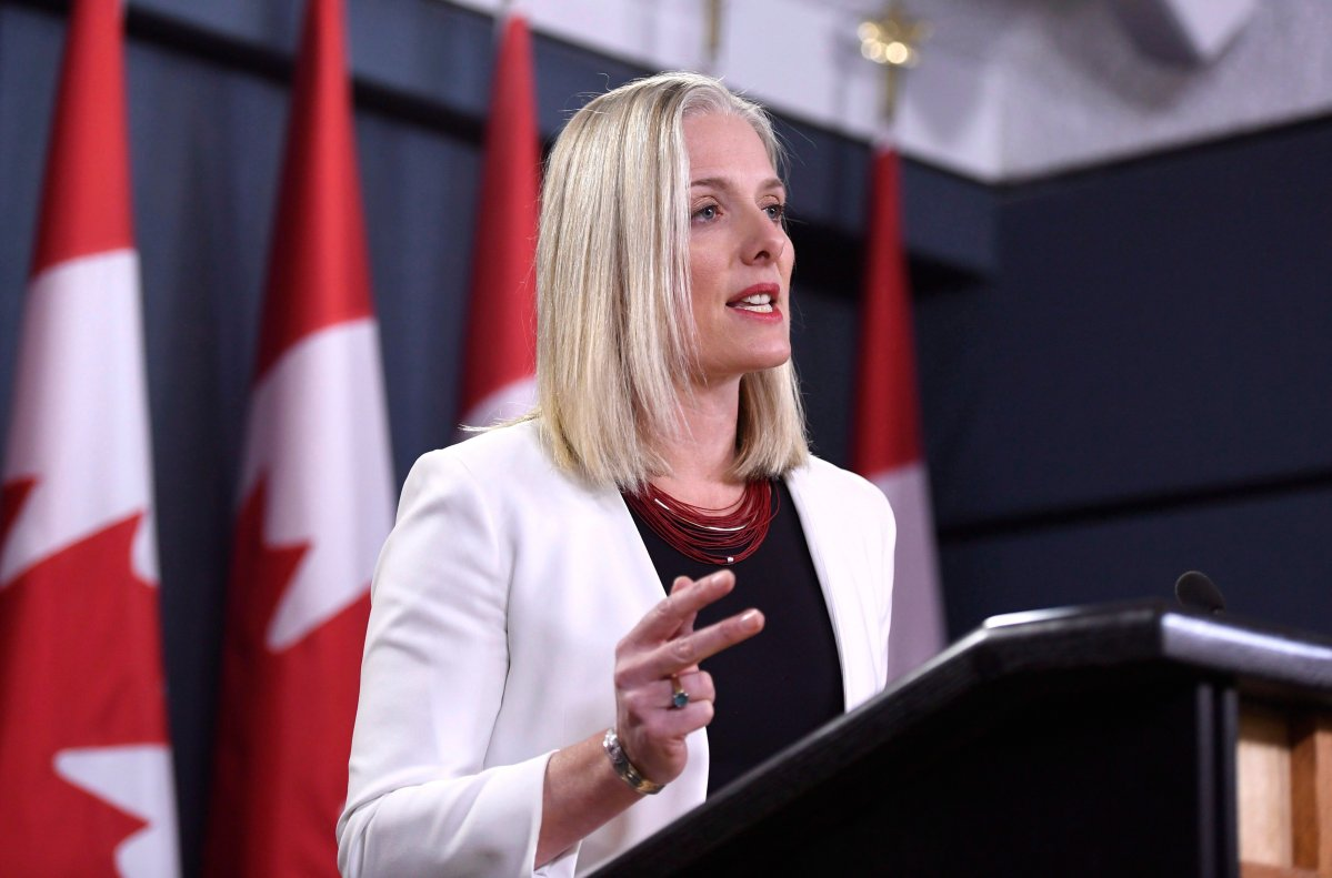Minister of Environment and Climate Change Catherine McKenna speaks during a press conference on the government's environmental and regulatory reviews related to major projects, in the National Press Theatre in Ottawa on Thursday, Feb. 8, 2018.