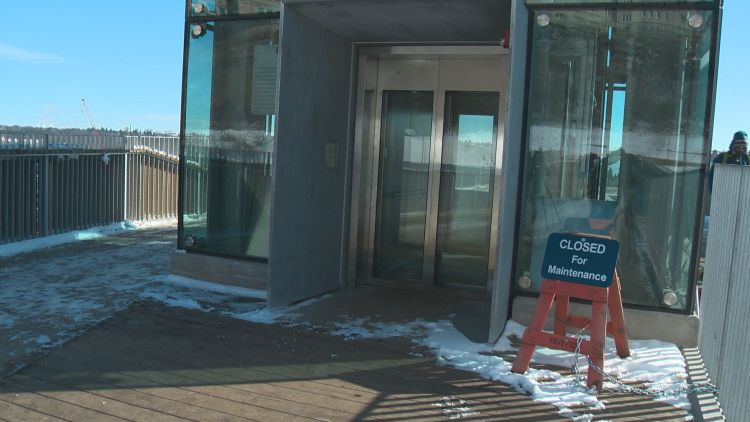 The elevator down to the river valley was closed for maintenance Tuesday morning.