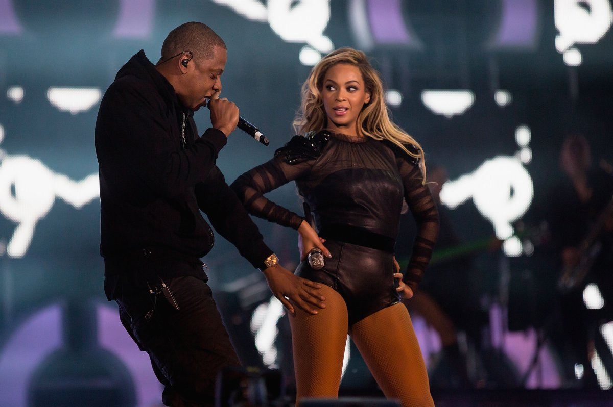 "Jay-Z joins Beyonce on stage for Crazy In Love at the ""Chime For Change: The Sound Of Change Live"" concert at Twickenham Stadium on June 1, 2013, in London, England."