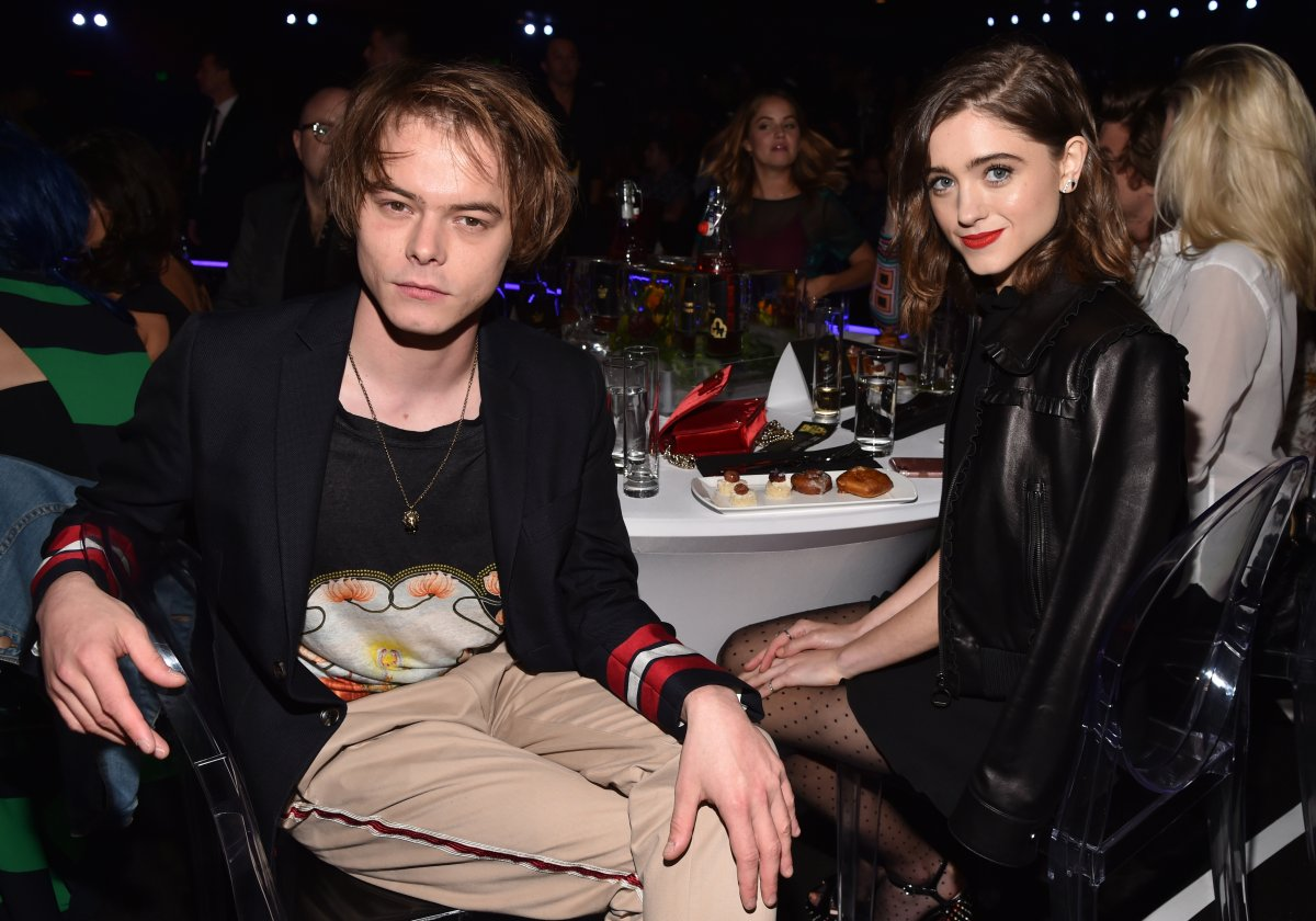 Actors Charlie Heaton (L) and Natalia Dyer attend the 2017 MTV Movie And TV Awards at The Shrine Auditorium on May 7, 2017 in Los Angeles, California.