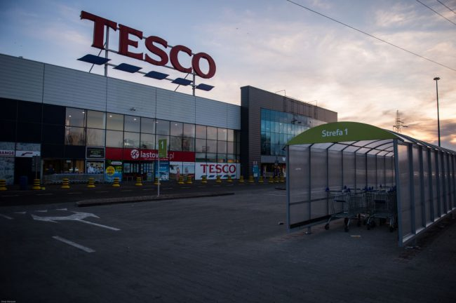 Tesco supermarket seen closed as the first Sunday shopping ban takes effect in Krakow, Poland.