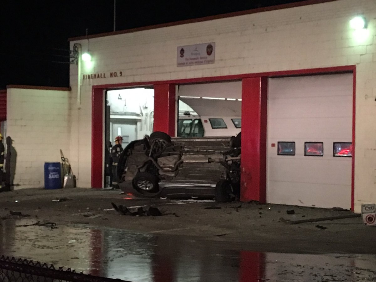 Police confirm the crash happened at Fire Station No. 9 on 864 Marion Street just before 5 a.m.